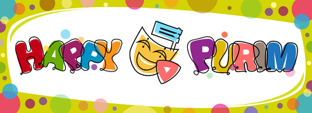 purim: Colorful Purim Banner - Happy Purim banner with Purim elements and colorful border. Eps10 Illustration