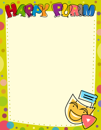 Happy Purim Blank Sign - Colorful Purim blank sign with colorful border and happy Purim text at the top. Eps10 Illustration