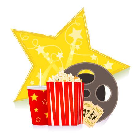 Cine: Boletos de las palomitas de la historieta, refrescos, carrete y de la pel�cula delante de una estrella decorativa - Imagen en movimiento-arte. eps10