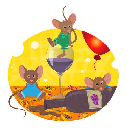 숙취 - 귀여운 쥐는 잔당 숙취를하고 있습니다. Eps10