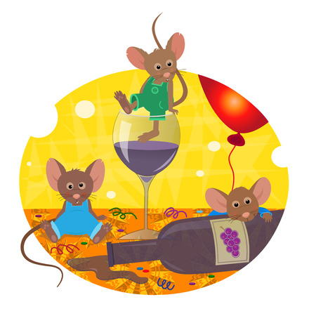 drunk party: Hangover - Cute mice are having an after party hangover. Eps10