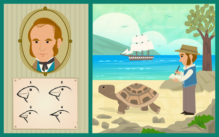 Darwin Adventure - Charles Darwin at the Galapagos Islands and the development of his theory of evolution. Stock Illustratie