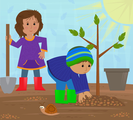 planting tree: Planting tree - A girl and a boy are planting a tree.