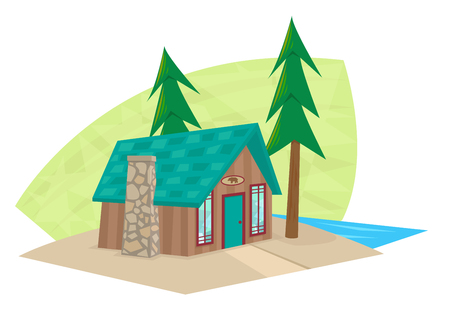 residential home: Small Cabin - Cartoon icon of a small cabin with a lake view.