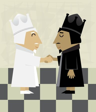 agreement shaking hands: Chess Kings - Conceptual illustration of black and white chess kings shaking hands.
