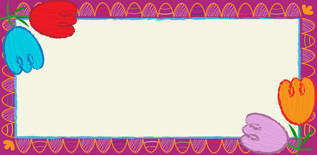 Tulips Banner - Decorative tulips and stylized Easter eggs blank banner