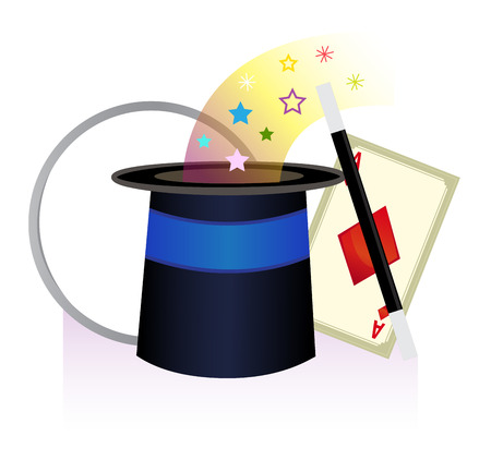 magician hat: Magic Icon - cute icon of magician hat, wand, playing card and a ring.