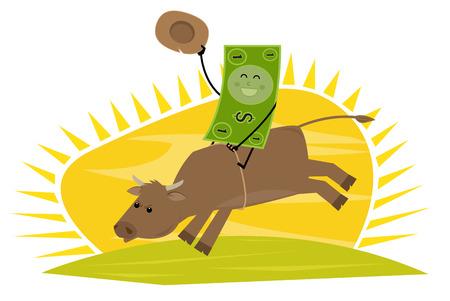 dollar bill: Ride For Success - Cartoon dollar bill rides a bull.