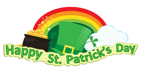irish banners: St. Patricks Day - Happy St. Patricks Day banner with leprechaun hat, pot of gold and rainbow. Eps10