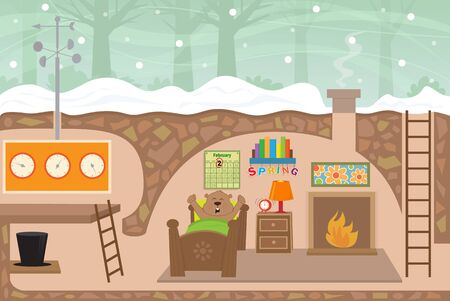 waking up: Groundhog House - Detailed illustration of a cute groundhogs weather station house with a groundhog waking up from his sleep on February second. Eps10