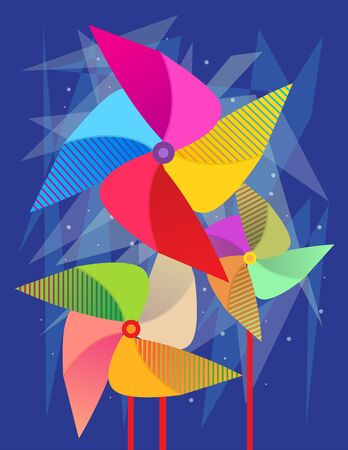 wind wheel: Pinwheels - Three colorful Pinwheels in different sizes on decorative blue background. Illustration