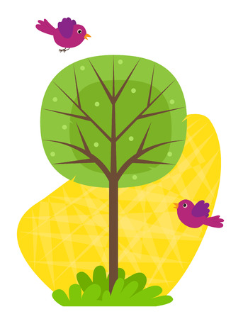 Arbre avec des oiseaux - Clip art d'oiseaux et un arbre stylisé sur un fond jaune. Banque d'images - 51044804