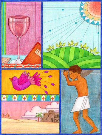 Passover Art - Conceptuele illustratie voor het Pascha dat het proces blijkt uit de slavernij naar de vrijheid. Gemaakt met stiften en kleurpotloden.