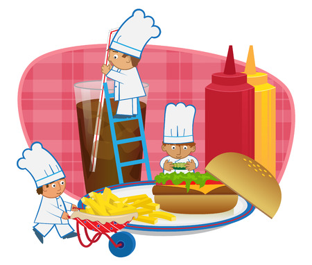cartoon chef: Chefs Making Burger - Cute cartoon chefs are making a fast food meal.