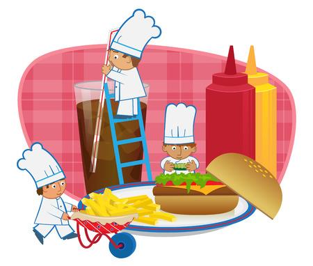 chef caricatura: Cocineros que hacen la hamburguesa - cocineros lindos de la historieta est�n haciendo una comida r�pida.