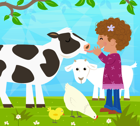 Girl With Farm Animals - Little girl plays with a cow, goat, chicken and chick. Eps10 Illustration