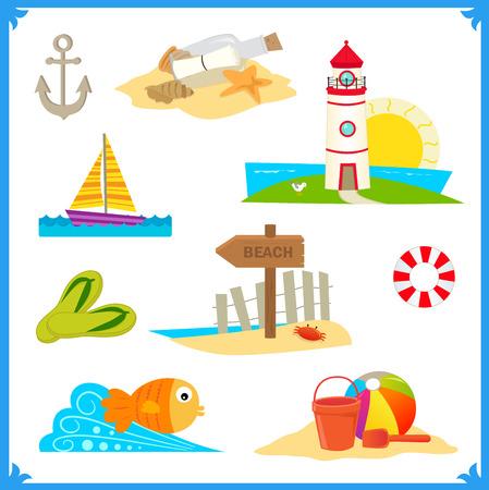 coastal: Coastal Icons - Cute vector set of nine coastal icons. Eps10