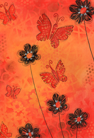 mixed media: Spring Butterflies - Mixed media artwork of butterflies and black flowers on decorative orange background.