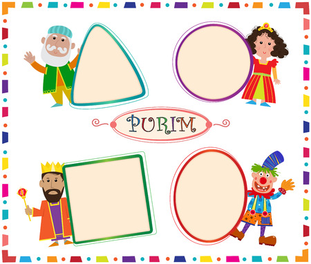 blank signs: Purim Signs - Cute Purim characters are holding blank signs.