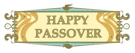 Retro style Passover banner with stylized dove and Happy Passover text in the center.