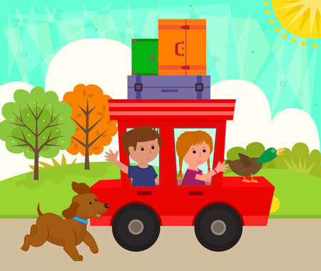 Kids Riding A Car - Boy and a girl at the park are riding a car with a duck and luggage on top and a cute dog is running next to them. Ilustração