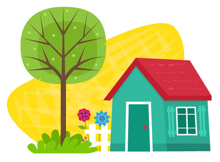 木のフェンス、花と木と小さな青い家小さな家。  イラスト・ベクター素材