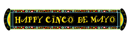 Cinco De Mayo Festive Banner - Colorful Happy Cinco De Mayo horizontal banner.