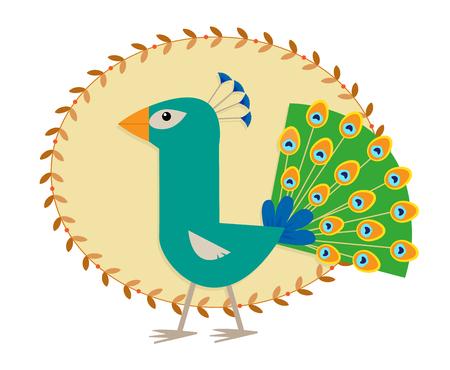 孔雀 - キュート様式化された孔雀を漫画します。  イラスト・ベクター素材