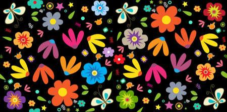Motif floral Printemps - Seamless de fleurs et de papillons colorés sur un fond noir.