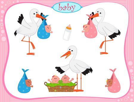 baby boy announcement: Stork With Babies - set of three storks with different set of babies.