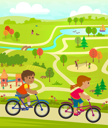cute animal cartoon: Fun At The Park - Aerial view of a park with playground volleyball, lake and children riding their bikes.