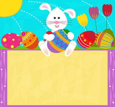 huevos de pascua: Signo Conejo de Pascua - conejito lindo es la celebraci�n de un huevo de Pascua y se sienta encima de una muestra en blanco.