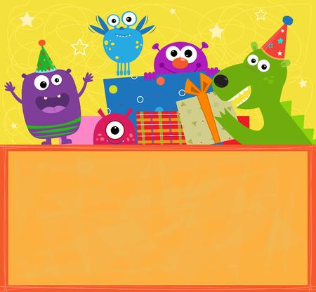 Monstres de bannière d'anniversaire - signe d'anniversaire coloré avec des monstres joyeux mignon, coffrets cadeaux et un espace vide pour ajouter du texte.