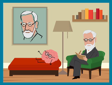 Sigmund Freud Cartoon - Freud is sitting on his green couch, analyzing a brain with glasses. Ilustração
