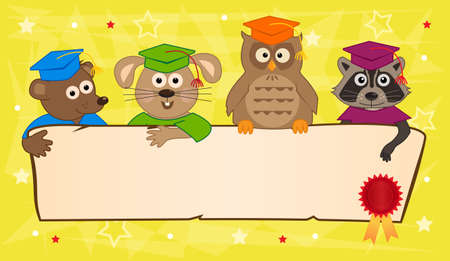 academic achievement: Animal Graduation Banner - Cute animals with graduation caps holding a blank banner with certificate seal in the corner.