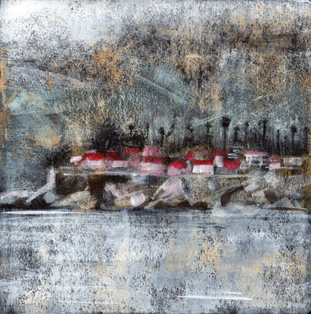 artwork painting: Rocky Beach Town - Abstract landscape painting of houses on a rocky shore made with acrylic paint on black card stock.