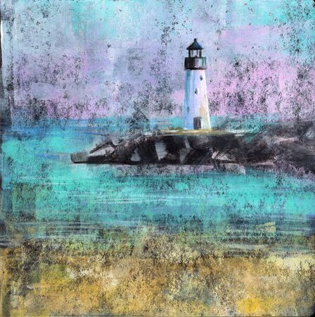 visual art: Abstract Lighthouse - Abstract painting of a beach with lighthouse made with acrylic paint on black card stock.