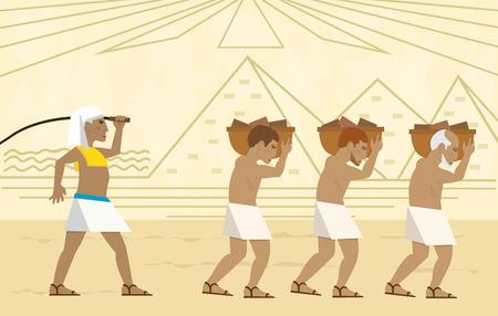 Slaven in Egypte - Pascha illustratie van slaven dragen bakstenen en een gestileerde landschap van de piramides op de achtergrond.