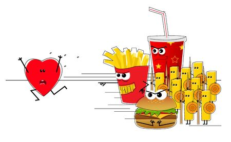 heart attack: Heart Attack - Conceptual illustration of a heart running away from an evil fast food army.