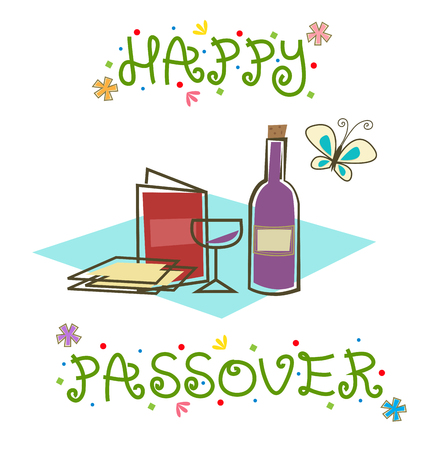 passover: Happy Passover Sign - Stylized Passover sign with Passover Seder items. Illustration