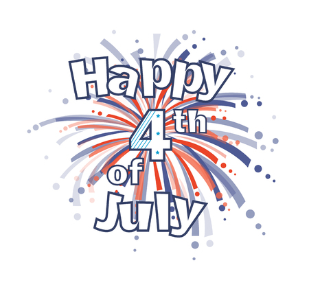 Fourth of July Fireworks - Happy 4th of July clip art with red and blue firework.