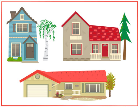 residential homes: Cute houses - Cartoon set of three different types of homes.