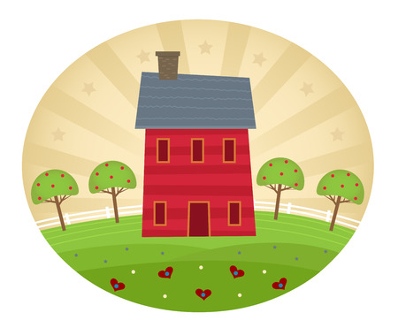 americana: Americana Style Home - Americana art style house with decorative hills, apple trees and stylized background. Illustration