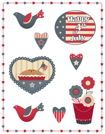 country style: Fourth of July Decorative Set - Country style Fourth of July patriotic set with eight different designs. Illustration