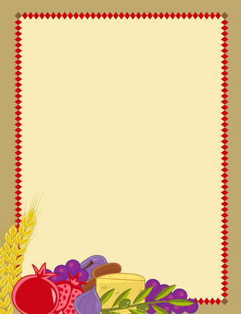 dates fruit: Shavuot blank sign with the holiday symbols