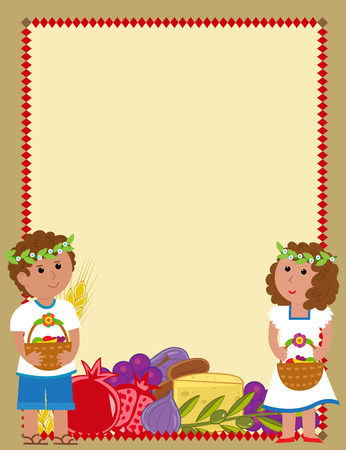child holding sign: Shavuot blank sign with a boy and a girl holding fruit baskets and the holiday symbols at the bottom Illustration