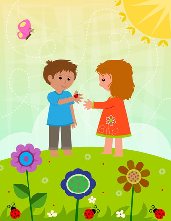 Boy and a girl are holding a ladybug, standing on a hill with flowers.
