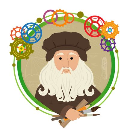 Cute cartoon of Leonardo Da Vinci holding brushes, pencil and a ruler. With a green circled frame and colorful gears around him. Stock Illustratie
