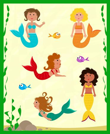 Cute set of five colorful mermaids and fish.
