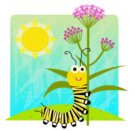 Cute cartoon monarch caterpillar holding flower. Stock Illustratie